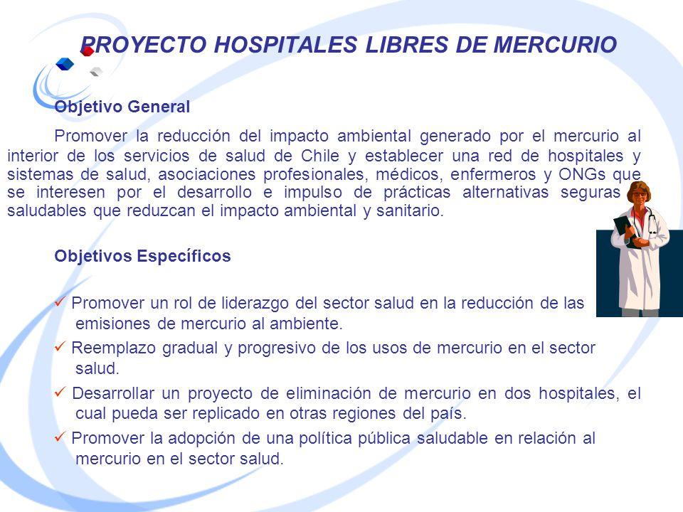 PROYECTO HOSPITALES LIBRES DE MERCURIO Objetivo General Promover la reducción del impacto ambiental generado por el mercurio al interior de los servic