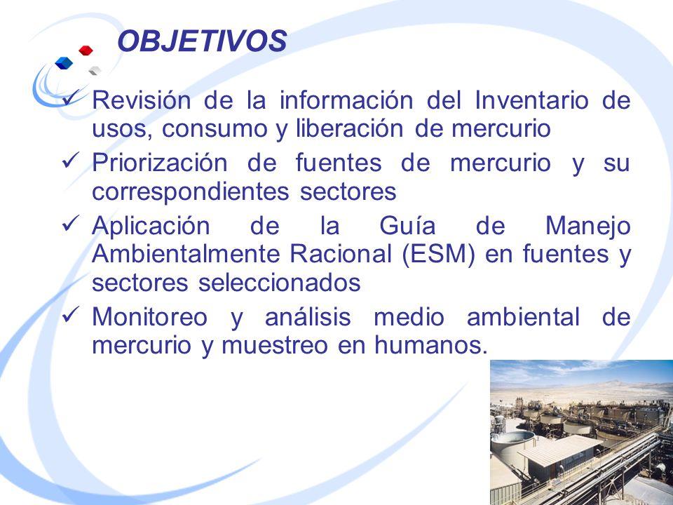 OBJETIVOS Revisión de la información del Inventario de usos, consumo y liberación de mercurio Priorización de fuentes de mercurio y su correspondiente