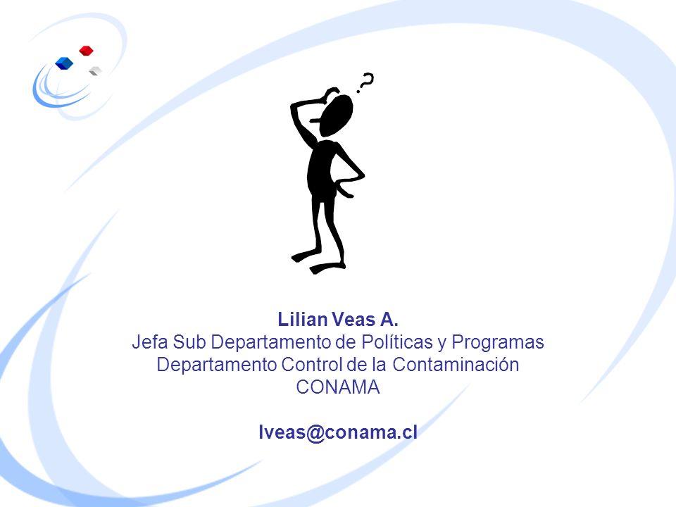Lilian Veas A. Jefa Sub Departamento de Políticas y Programas Departamento Control de la Contaminación CONAMA lveas@conama.cl
