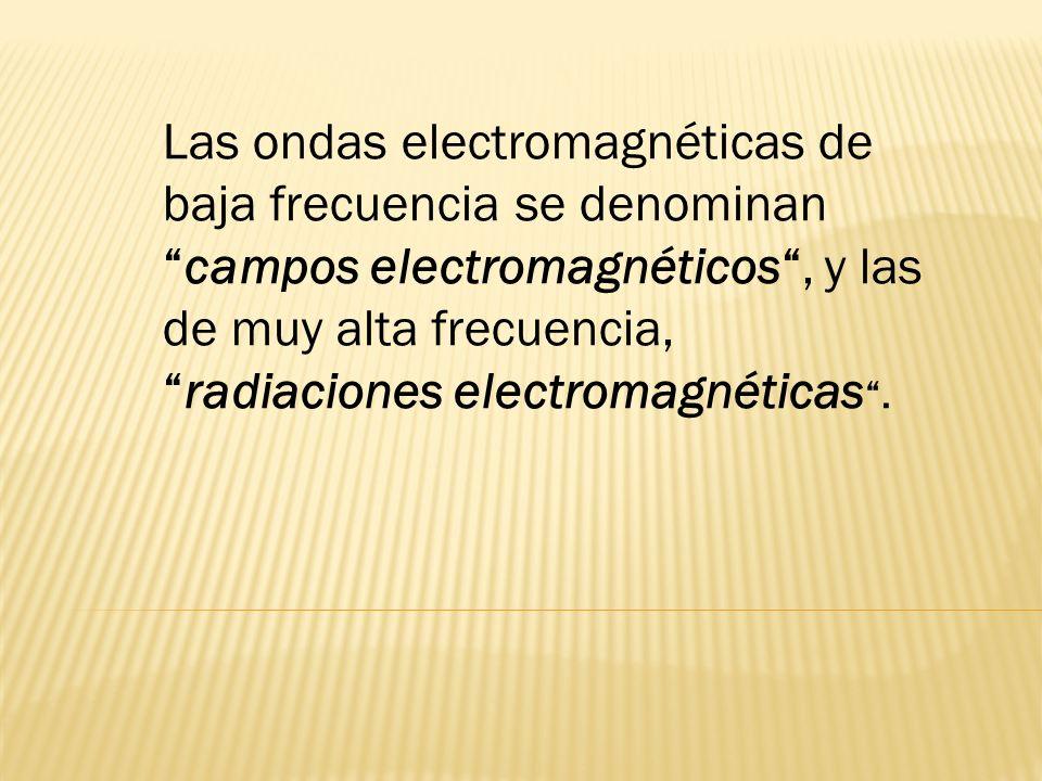 Las ondas electromagnéticas de baja frecuencia se denominancampos electromagnéticos, y las de muy alta frecuencia,radiaciones electromagnéticas.