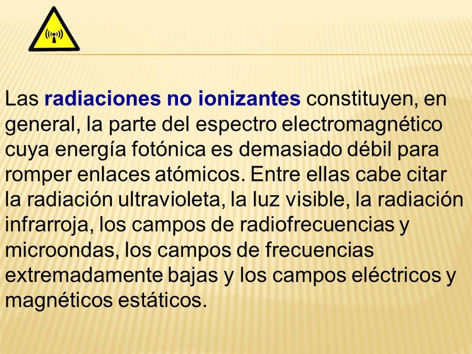 Las radiaciones no ionizantes constituyen, en general, la parte del espectro electromagnético cuya energía fotónica es demasiado débil para romper enl