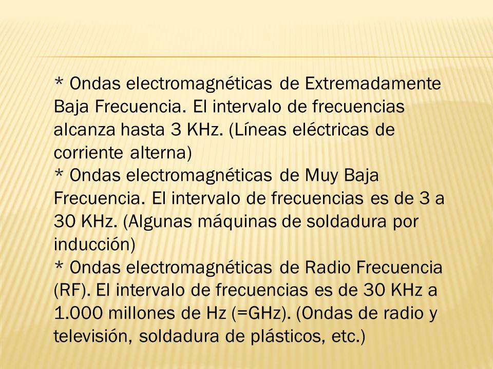 * Ondas electromagnéticas de Extremadamente Baja Frecuencia. El intervalo de frecuencias alcanza hasta 3 KHz. (Líneas eléctricas de corriente alterna)