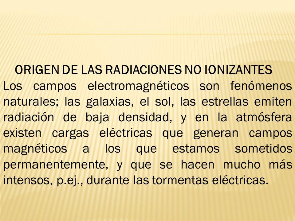 ORIGEN DE LAS RADIACIONES NO IONIZANTES Los campos electromagnéticos son fenómenos naturales; las galaxias, el sol, las estrellas emiten radiación de