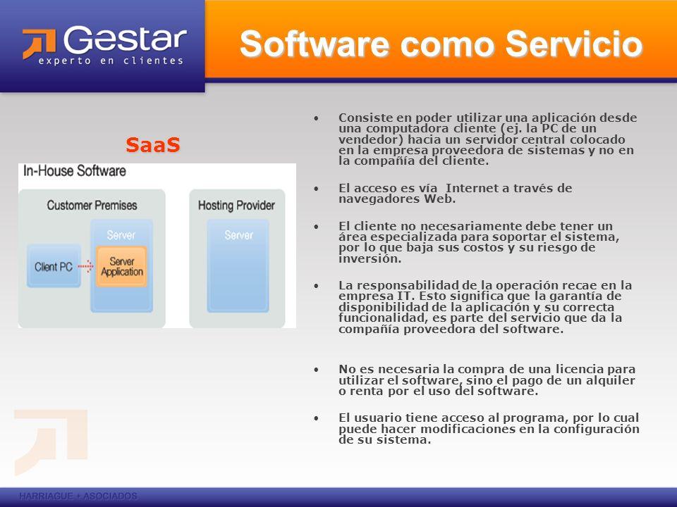 Consiste en poder utilizar una aplicación desde una computadora cliente (ej. la PC de un vendedor) hacia un servidor central colocado en la empresa pr