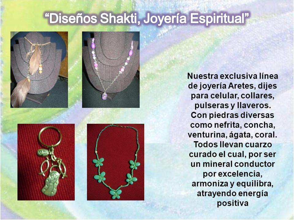 Nuestra exclusiva línea de joyería Aretes, dijes para celular, collares, pulseras y llaveros. Con piedras diversas como nefrita, concha, venturina, ág