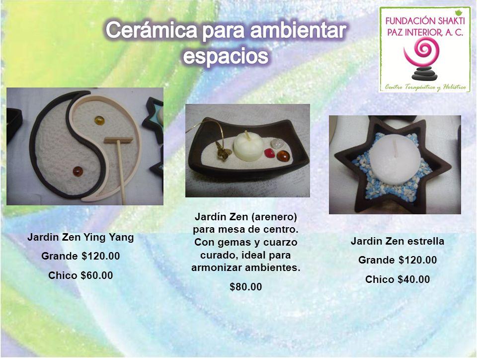 Jardin Zen estrella Grande $120.00 Chico $40.00 Jardin Zen Ying Yang Grande $120.00 Chico $60.00 Jardín Zen (arenero) para mesa de centro. Con gemas y