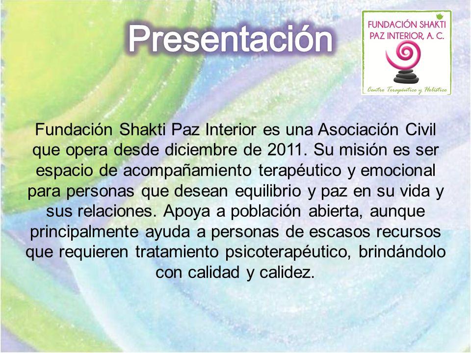 Fundación Shakti Paz Interior es una Asociación Civil que opera desde diciembre de 2011. Su misión es ser espacio de acompañamiento terapéutico y emoc