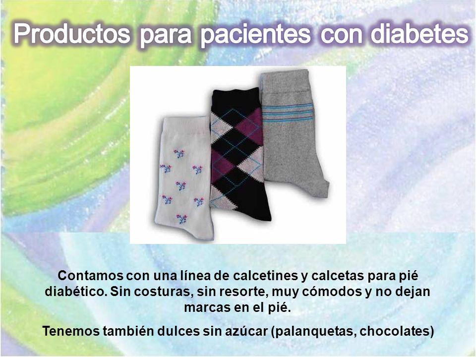 Contamos con una línea de calcetines y calcetas para pié diabético. Sin costuras, sin resorte, muy cómodos y no dejan marcas en el pié. Tenemos tambié