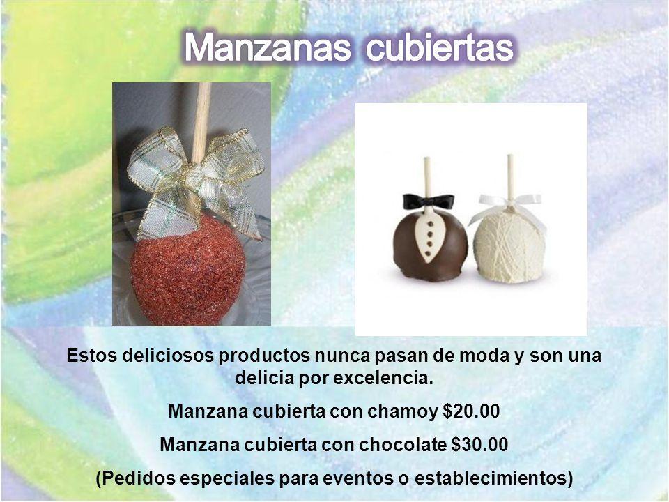 Estos deliciosos productos nunca pasan de moda y son una delicia por excelencia. Manzana cubierta con chamoy $20.00 Manzana cubierta con chocolate $30