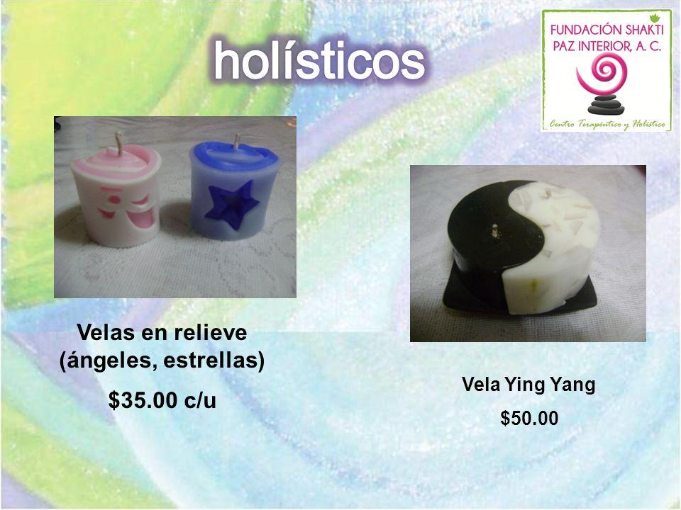 Velas en relieve (ángeles, estrellas) $35.00 c/u Vela Ying Yang $50.00