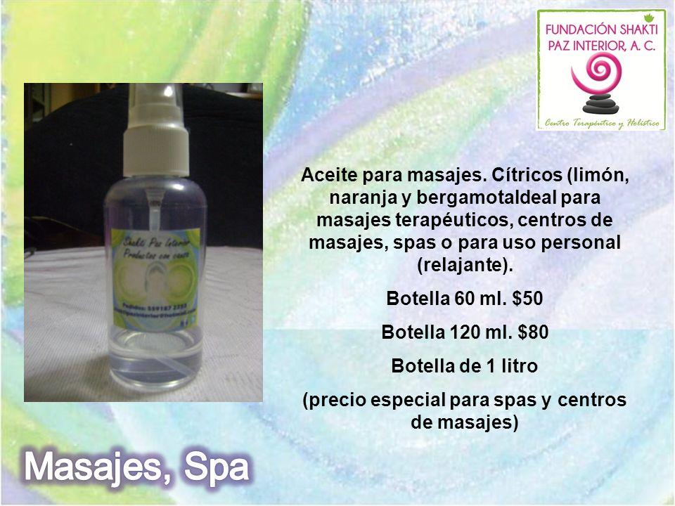 Aceite para masajes. Cítricos (limón, naranja y bergamotaIdeal para masajes terapéuticos, centros de masajes, spas o para uso personal (relajante). Bo