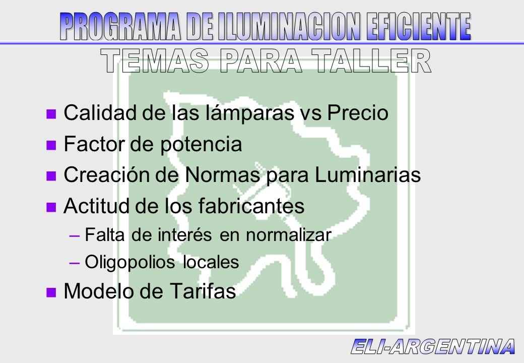 n Calidad de las lámparas vs Precio n Factor de potencia n Creación de Normas para Luminarias n Actitud de los fabricantes –Falta de interés en normal