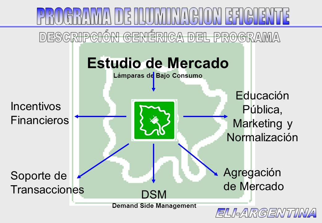 Estudio de Mercado Lámparas de Bajo Consumo Educación Pública, Marketing y Normalización DSM Demand Side Management Agregación de Mercado Soporte de T