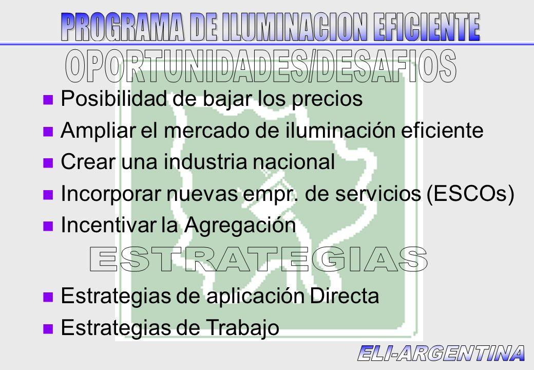 n Posibilidad de bajar los precios n Ampliar el mercado de iluminación eficiente n Crear una industria nacional n Incorporar nuevas empr.