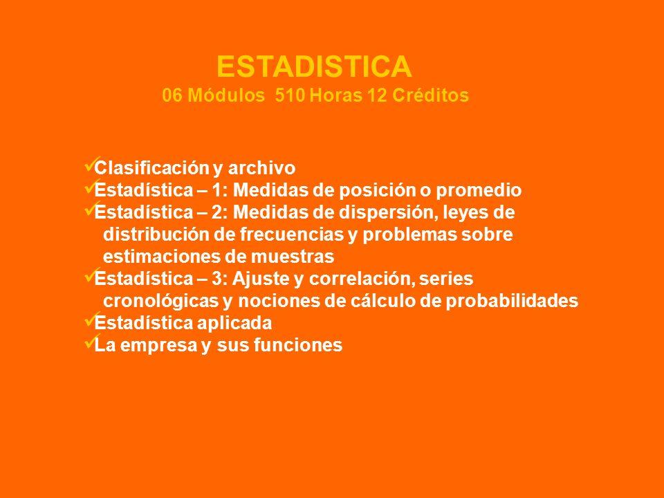 Clasificación y archivo Estadística – 1: Medidas de posición o promedio Estadística – 2: Medidas de dispersión, leyes de distribución de frecuencias y
