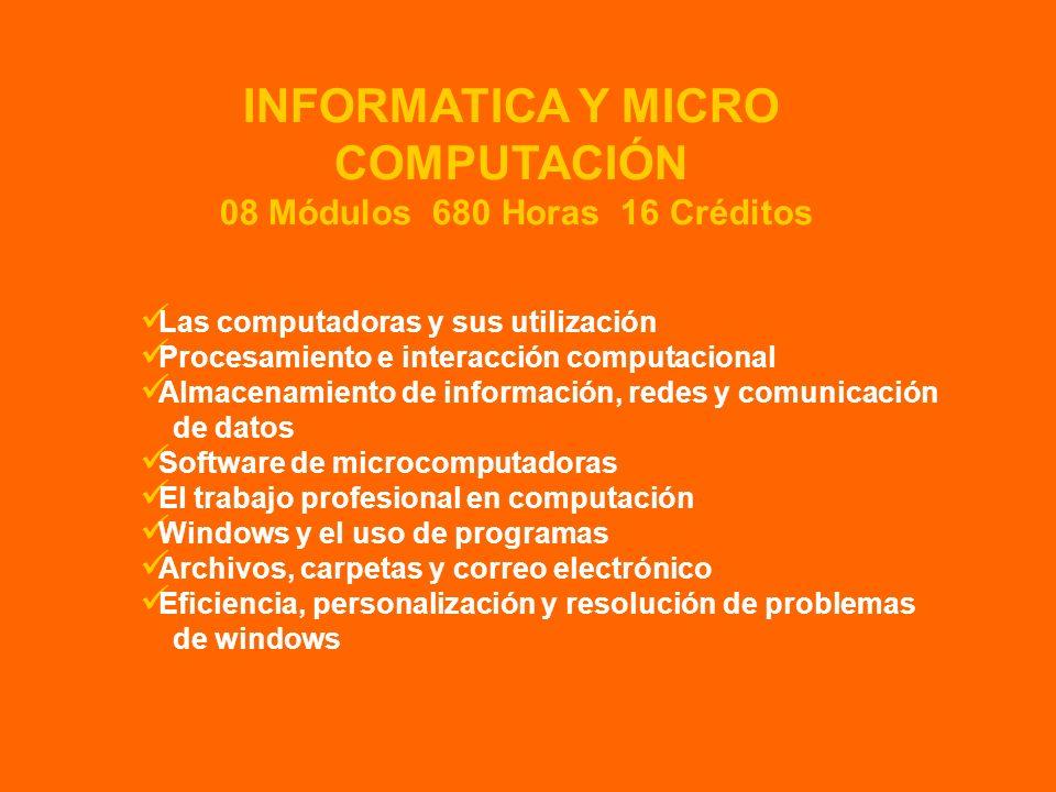 Las computadoras y sus utilización Procesamiento e interacción computacional Almacenamiento de información, redes y comunicación de datos Software de