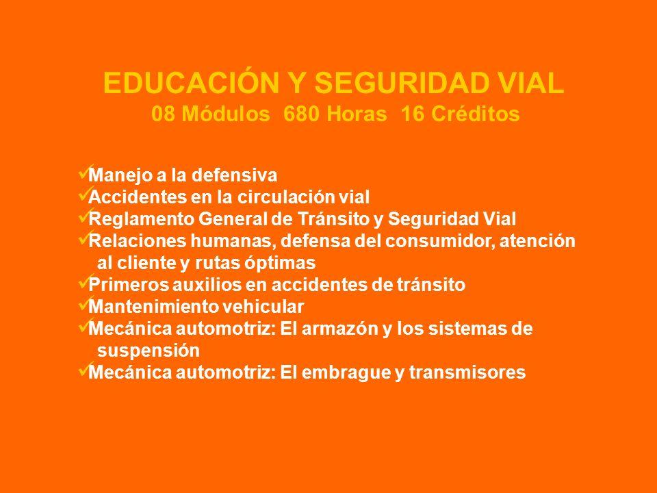 Manejo a la defensiva Accidentes en la circulación vial Reglamento General de Tránsito y Seguridad Vial Relaciones humanas, defensa del consumidor, at