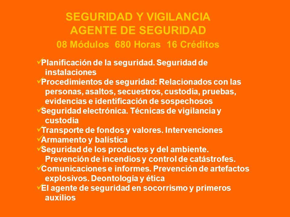 Planificación de la seguridad. Seguridad de instalaciones Procedimientos de seguridad: Relacionados con las personas, asaltos, secuestros, custodia, p