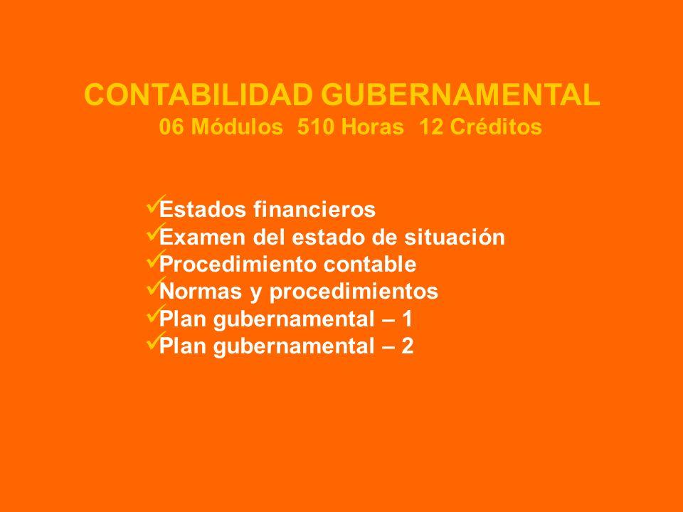 Estados financieros Examen del estado de situación Procedimiento contable Normas y procedimientos Plan gubernamental – 1 Plan gubernamental – 2 CONTAB