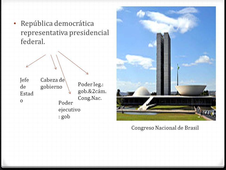 República democrática representativa presidencial federal. Jefe de Estad o Cabeza de gobierno Congreso Nacional de Brasil Poder ejecutivo : gob Poder
