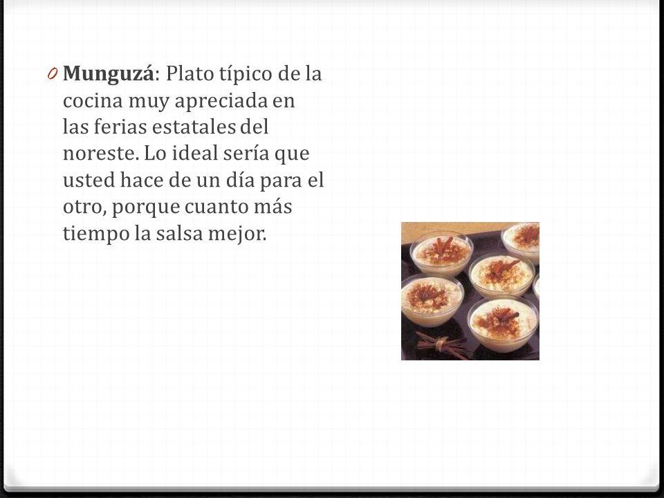 0 Munguzá: Plato típico de la cocina muy apreciada en las ferias estatales del noreste. Lo ideal sería que usted hace de un día para el otro, porque c