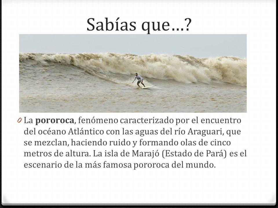 Sabías que…? 0 La pororoca, fenómeno caracterizado por el encuentro del océano Atlántico con las aguas del río Araguari, que se mezclan, haciendo ruid