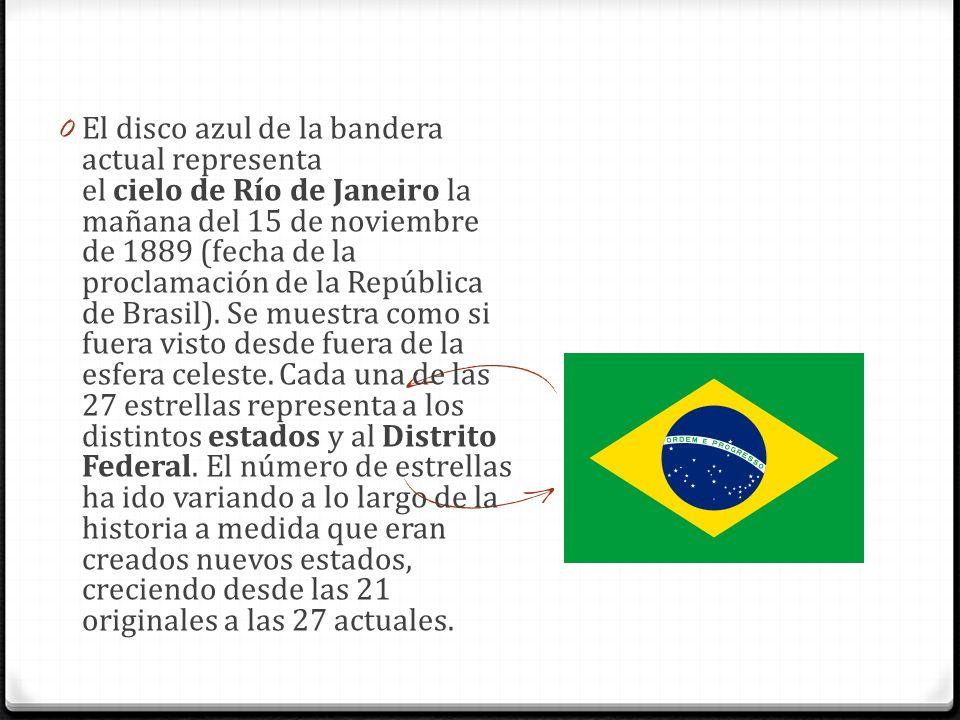 0 El disco azul de la bandera actual representa el cielo de Río de Janeiro la mañana del 15 de noviembre de 1889 (fecha de la proclamación de la Repúb