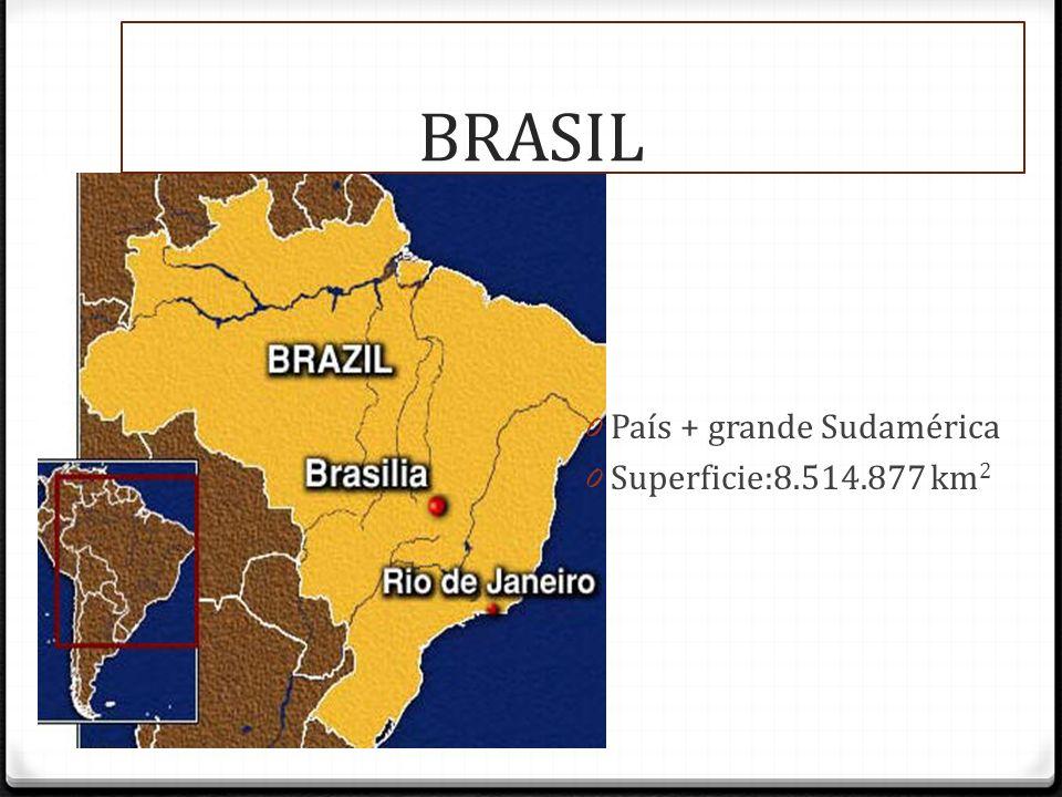 BRASIL 0 País + grande Sudamérica 0 Superficie:8.514.877 km 2