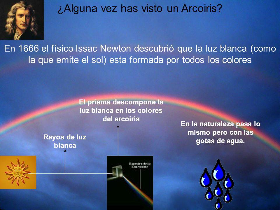¿Alguna vez has visto un Arcoiris? En 1666 el físico Issac Newton descubrió que la luz blanca (como la que emite el sol) esta formada por todos los co