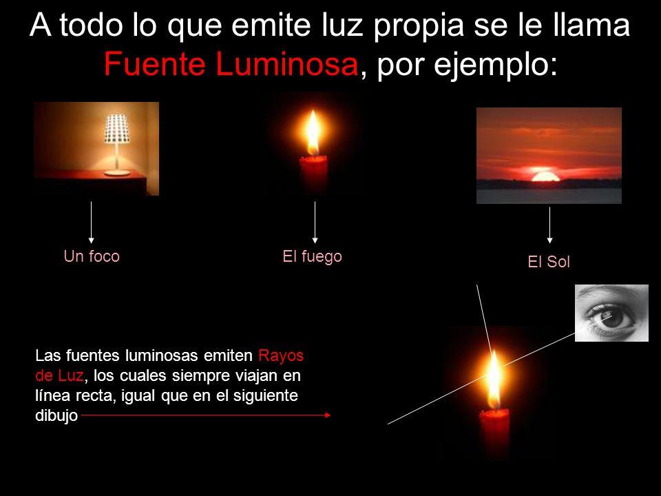 A todo lo que emite luz propia se le llama Fuente Luminosa, por ejemplo: Un focoEl fuego El Sol Las fuentes luminosas emiten Rayos de Luz, los cuales