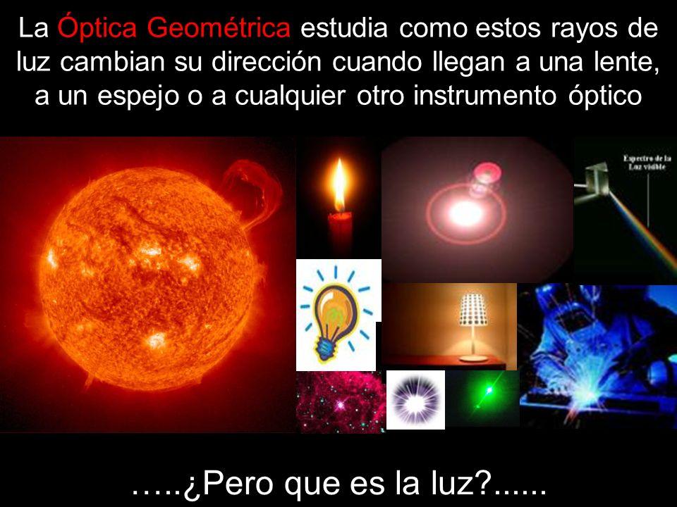 La Óptica Geométrica estudia como estos rayos de luz cambian su dirección cuando llegan a una lente, a un espejo o a cualquier otro instrumento óptico