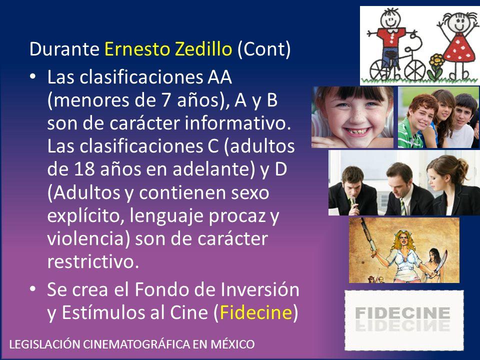 LEGISLACIÓN CINEMATOGRÁFICA EN MÉXICO Durante Ernesto Zedillo (Cont) Las clasificaciones AA (menores de 7 años), A y B son de carácter informativo. La