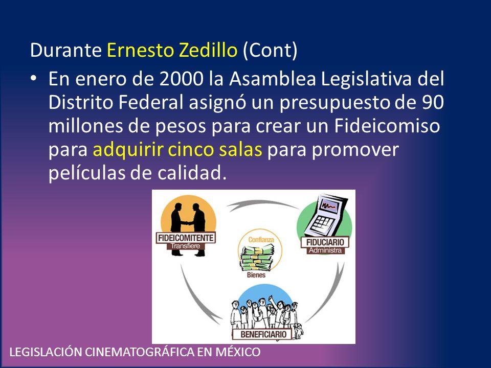 LEGISLACIÓN CINEMATOGRÁFICA EN MÉXICO Durante Ernesto Zedillo (Cont) En enero de 2000 la Asamblea Legislativa del Distrito Federal asignó un presupues