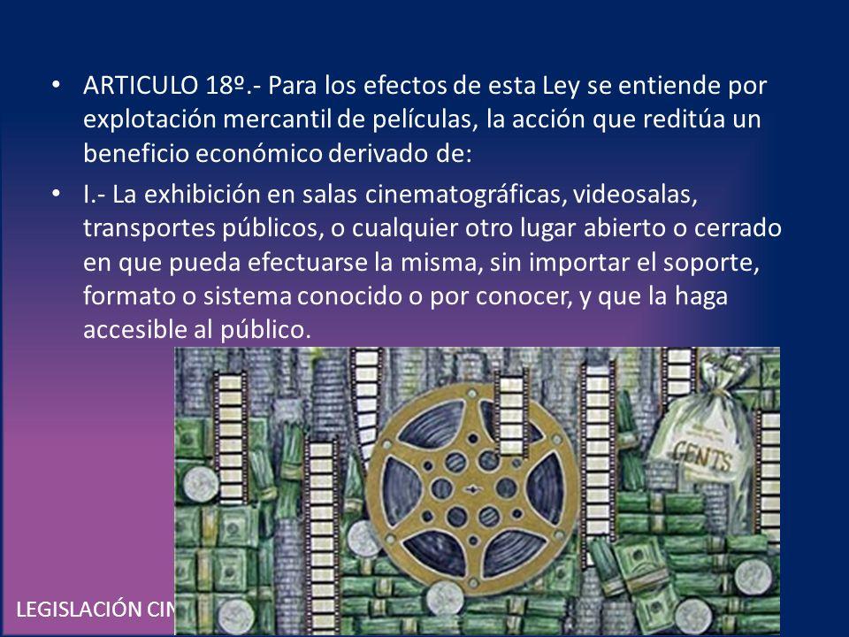 LEGISLACIÓN CINEMATOGRÁFICA EN MÉXICO ARTICULO 18º.- Para los efectos de esta Ley se entiende por explotación mercantil de películas, la acción que re