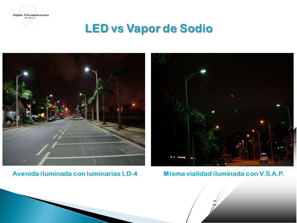 Avenida iluminada con luminarias LD-4Misma vialidad iluminada con V.S.A.P.