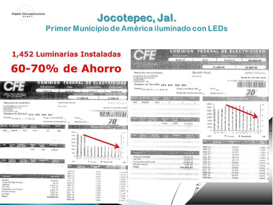 1,452 Luminarias Instaladas 60-70% de Ahorro
