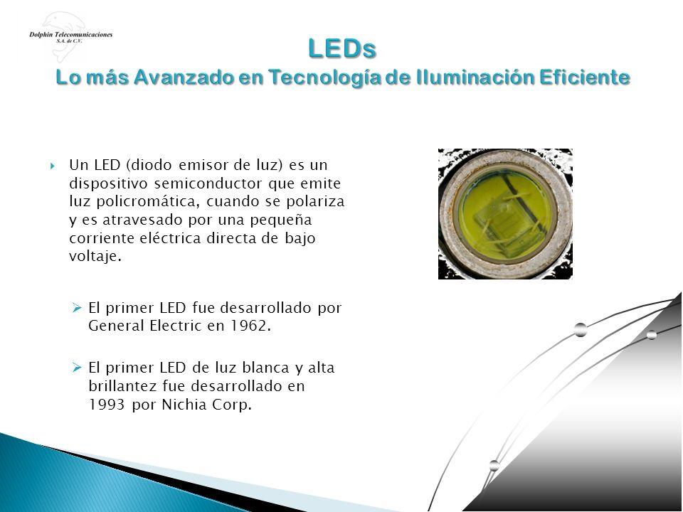 Un LED (diodo emisor de luz) es un dispositivo semiconductor que emite luz policromática, cuando se polariza y es atravesado por una pequeña corriente
