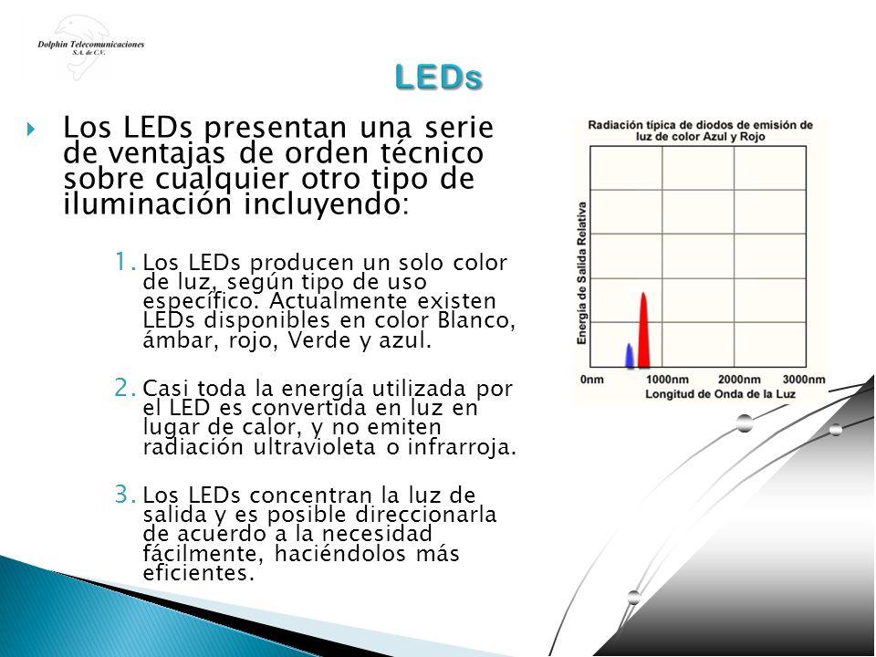 Los LEDs presentan una serie de ventajas de orden técnico sobre cualquier otro tipo de iluminación incluyendo: 1. Los LEDs producen un solo color de l