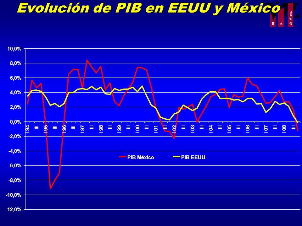 R A & Asoc. Evolución de PIB en EEUU y México -12,0% -10,0% -8,0% -6,0% -4,0% -2,0% 0,0% 2,0% 4,0% 6,0% 8,0% 10,0% I 94 III I 95 III I 96 III I 97 III