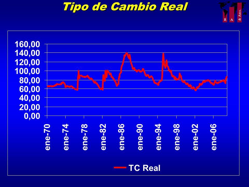R A & Asoc. Tipo de Cambio Real 0,00 20,00 40,00 60,00 80,00 100,00 120,00 140,00 160,00 ene-70ene-74ene-78 ene-82ene-86ene-90ene-94ene-98 ene-02 ene-