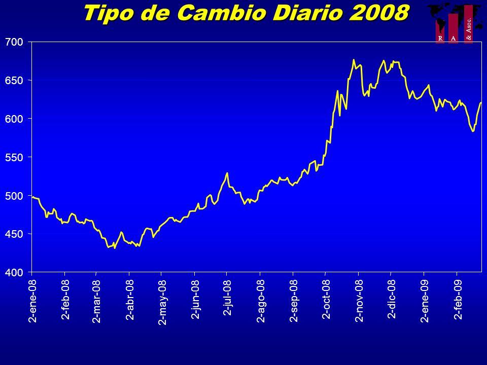 R A & Asoc. Tipo de Cambio Diario 2008 400 450 500 550 600 650 700 2-ene-08 2-feb-08 2-mar-08 2-abr-08 2-may-08 2-jun-08 2-jul-08 2-ago-08 2-sep-08 2-