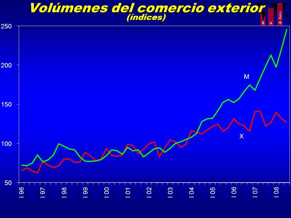 R A & Asoc. Volúmenes del comercio exterior (índices) 50 100 150 200 250 I 96I 97I 98I 99I 00I 01I 02I 03I 04I 05 I 06I 07I 08 X M