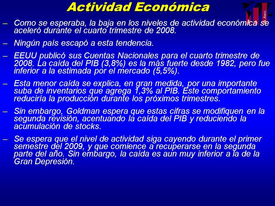 R A & Asoc. –Como se esperaba, la baja en los niveles de actividad económica se aceleró durante el cuarto trimestre de 2008. –Ningún país escapó a est