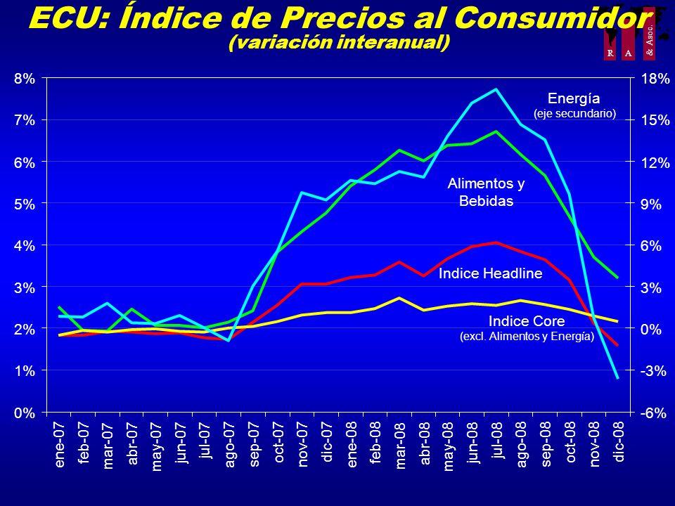 R A & Asoc. ECU: Índice de Precios al Consumidor (variación interanual) 0% 1% 2% 3% 4% 5% 6% 7% 8% ene-07 feb-07 mar-07 abr-07 may-07 jun-07 jul-07 ag