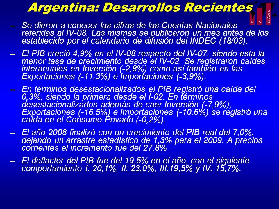 R A Argentina: Desarrollos Recientes –Se dieron a conocer las cifras de las Cuentas Nacionales referidas al IV-08. Las mismas se publicaron un mes ant
