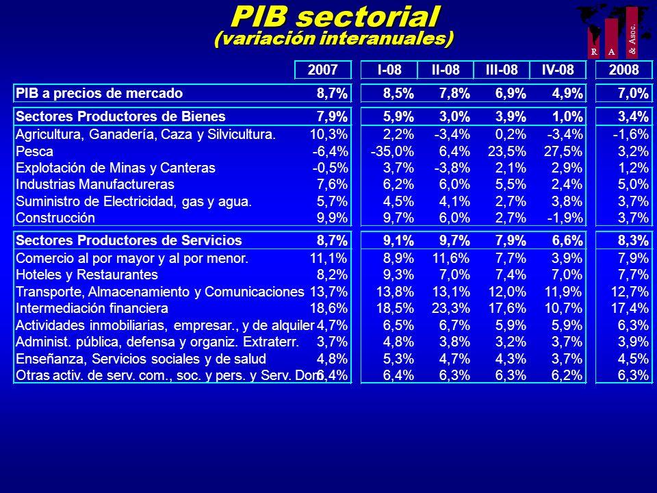 R A & Asoc. PIB sectorial (variación interanuales) 2007I-08II-08III-08IV-082008 PIB a precios de mercado8,7%8,5%7,8%6,9%4,9%7,0% Sectores Productores