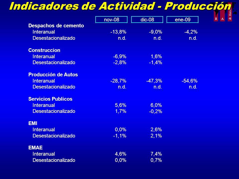 R A & Asoc. Indicadores de Actividad - Producción nov-08 Despachos de cemento Interanual-13,8% Desestacionalizadon.d. Construccion Interanual-6,9% Des