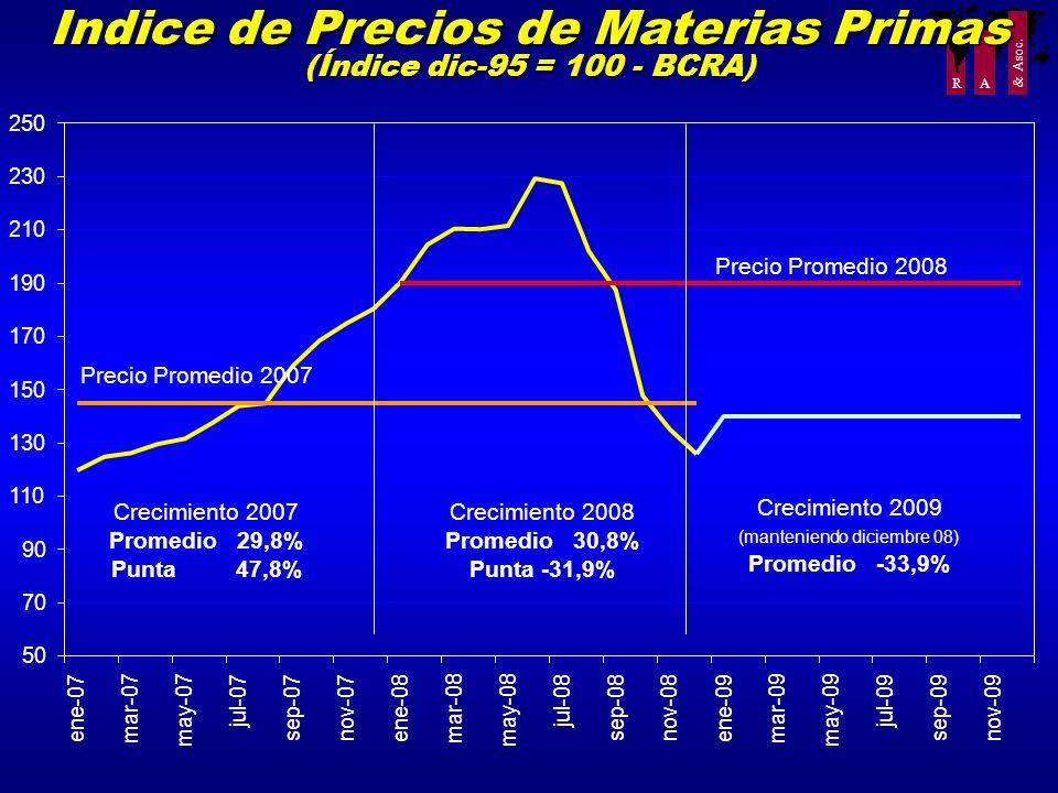 R A & Asoc. Indice de Precios de Materias Primas (Índice dic-95 = 100 - BCRA) 50 70 90 110 130 150 170 190 210 230 250 ene-07 mar-07 may-07 jul-07 sep