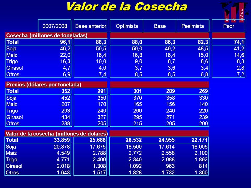 R A & Asoc. Valor de la Cosecha Valor de la cosecha(millones de dólares) Total33.85925.68826.53224.95522.171 Soja20.87817.67518.50017.61416.005 Maiz4.
