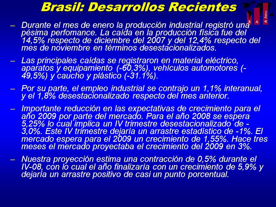 R A & Asoc. Brasil: Desarrollos Recientes –Durante el mes de enero la producción industrial registró una pésima perfomance. La caída en la producción
